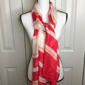 3/$15 pink & white striped scarf 70 x 27 no flaws